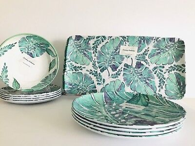 Tropical Plates (Tommy Bahama Tropical Palm Leaves Melamine Dinner/Salad Plates/Platter/Bowls)