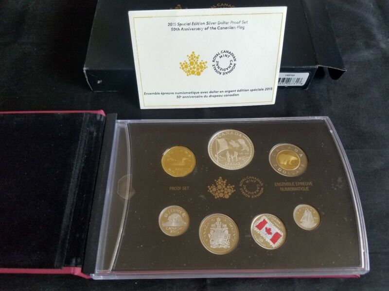 """2015 Royal Canadian Proof Set- 50th Anniversary of the Flag """"Limited Edition"""""""