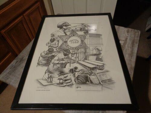 Rare Vintage Abel Reynoso 1995 L.A. County Deputy Sheriff Print Lithograph Art