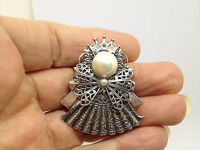 Vintage Faux Pearl & Rhinestone Angel BROOCH PIN Silver Tone Costume Jewelry