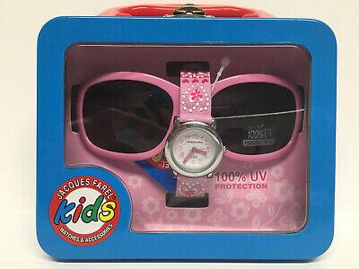 JACQUES FAREL Geschenkset Kinder Armbanduhr mit Sonnenbrille Mädchen rosa Herzen