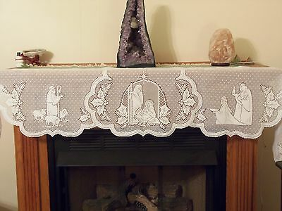 """New Ivory Silent Night design Mantle Scarf 90"""" X 20"""""""