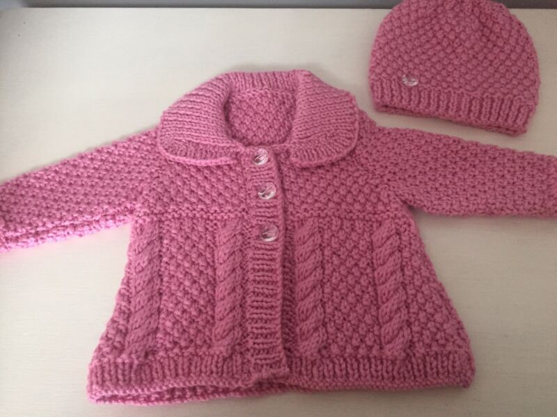Hand Knitted Baby Girls Aran Cardigan/ Coat And Hat Set 0-3 Months Pink