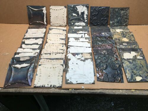 "50pc Craft Lot of 5"" by 5"" Antique Ceiling Tin Vintage Reclaimed Salvage Art"