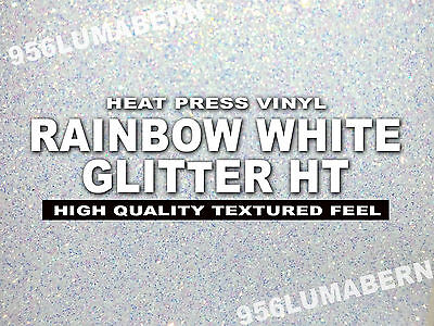 12x20 Rainbow White Glitter Heat Transfer Vinylt-shirt Sheetthermal Press