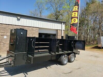Night Iron Hog Bbq Barn Door Smoker 48grill Trailer Food Truck Business Catering