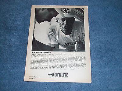 "1963 Autolite Fireball Roberts Vintage Ad ""Our Man in Daytona"""