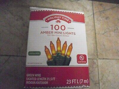 New ! Holiday Time 100 Count Amber Mini Lights Green Wire 23 FT Long covid 19 (100 Amber Mini coronavirus)
