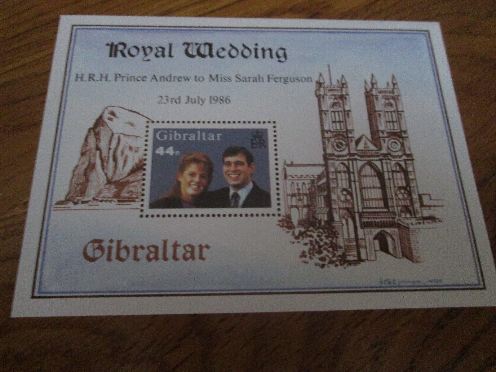 GIBRALTAR 1986 Royal Wedding Mini sheet  SG 545 mnh