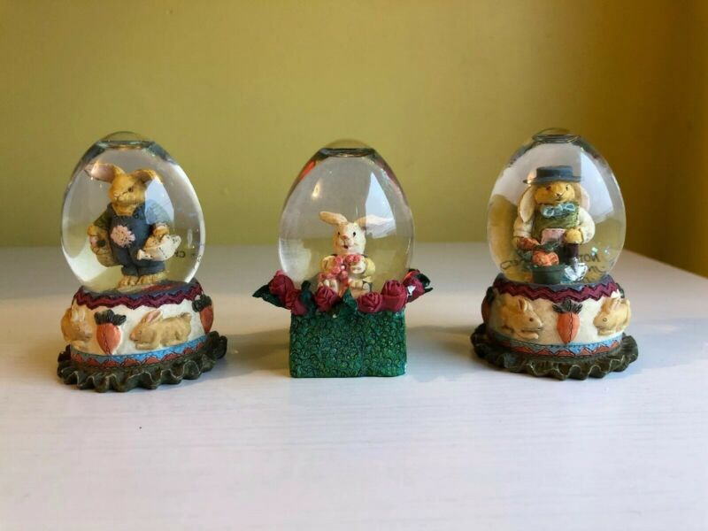 3 Easter Rabbit Snow Globes - 3 Inches