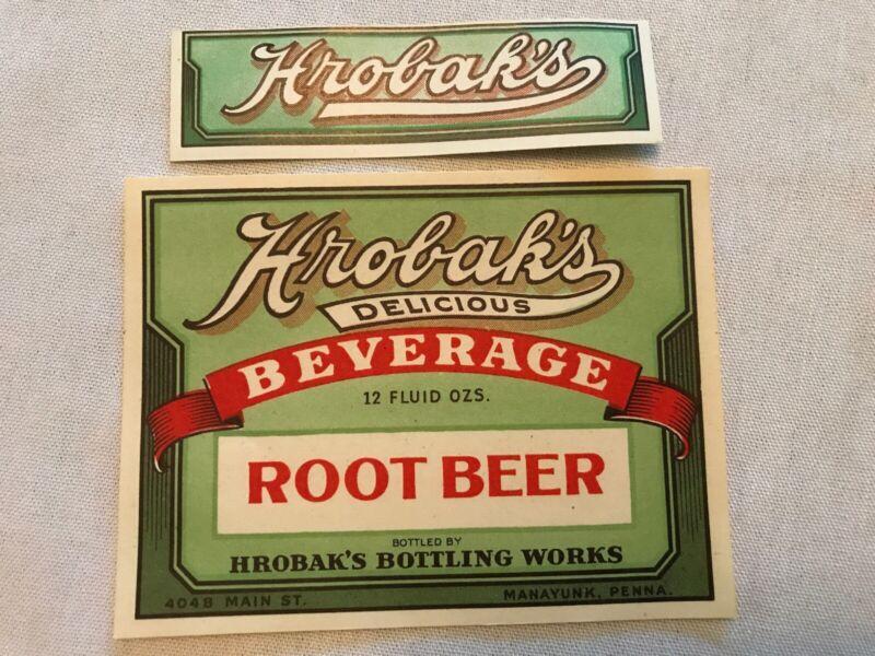 HROBAK'S Beverages Vintage Root Beer Labels, Manayunk, Penna.