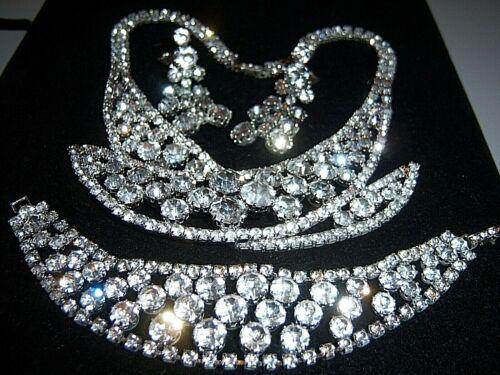 Vtg Huge Uns Weiss Ice Clear Rhinestone Necklace Bracelet Earring set Parure