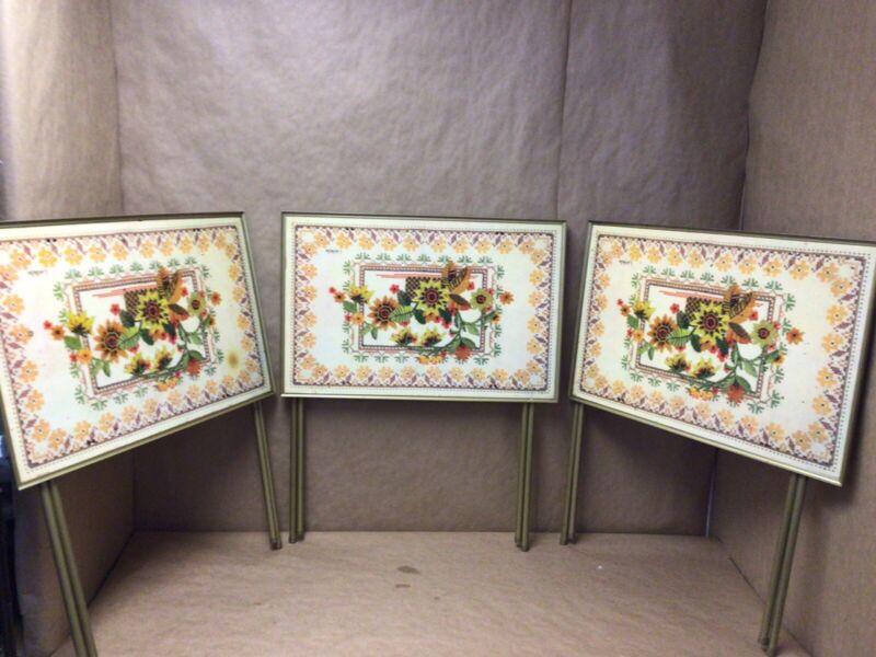 vintage lavada mid century tv trays set of 3
