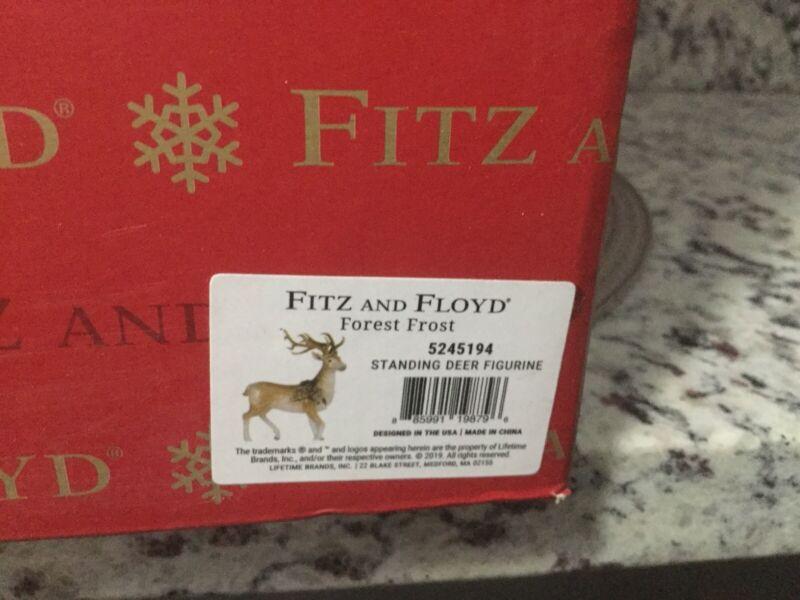 FITZ & FLOYD FOREST FROST STANDING DEER REINDEER FIGURINE NEW