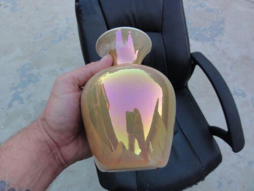 Marigold Over Moonstone Bulbous Vase - A Nice One