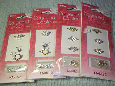 Lot of 4 Darice Layered Looks Jewelry Making Kits Heart, Flower Charms
