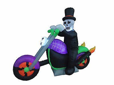USED Halloween Inflatable Ghost Motorcycle Bike Skeleton Air Blown Decoration](Inflatable Halloween Ghost)
