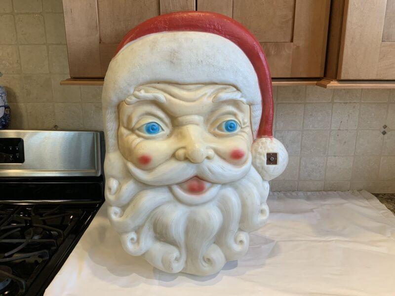 "Large 24"" x 18"" Vintage Empire Light Up Musical Santa Face Blow Mold- No Lt.Cord"