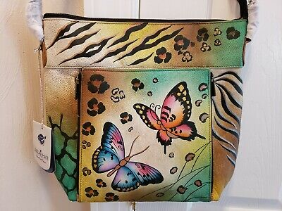 Anuschka Butterfly Hand Painted Crossbody with Dust Bag