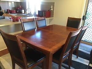 Extendable Wooden Dining Table with 8 Leather Seats Happy Valley Morphett Vale Area Preview
