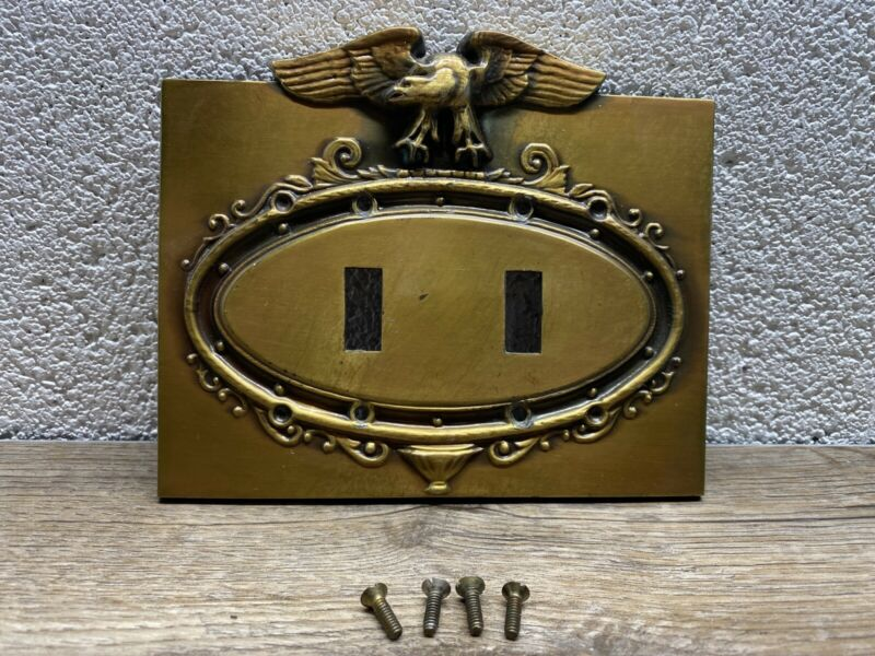 Vintage Brass Stamped Oval Federal Eagle Double Light Switch Wall Plate Cover
