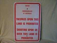 VINTAGE TIN FARM SIGN NO SHOOTING OR TRESPASS ON THIS LAND Casino Richmond Valley Preview
