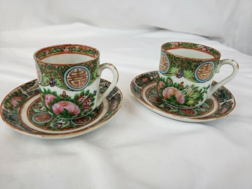 Two Set of old Chinese Famille Rose cups/saucers