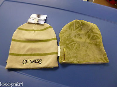 (Guinness Beer Reversible Mens Stone One Size Fits Most Beanie Hat Knit Cap NWT)