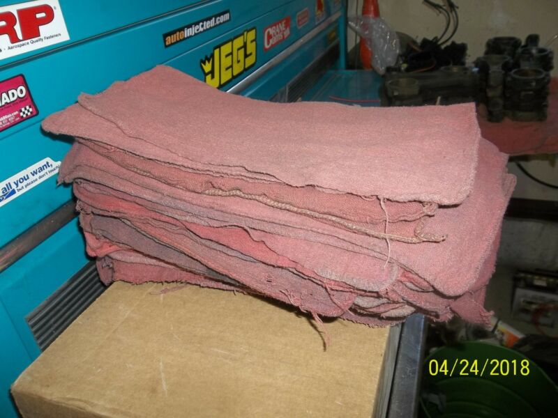 "12"" x 12"" shop rags, cleaned. 25 count bundle, typical color red"
