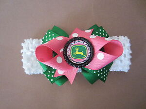 John Deere Hair Bow on Headband Baby Toddler **FREE SHIPPING**