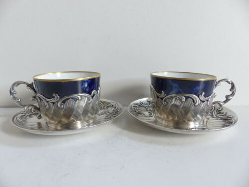 RARE & SUPERB PAIR OF ANTIQUE CHRISTOFLE GALLIA TEA COFFEE CUPS & SAUCERS 1890