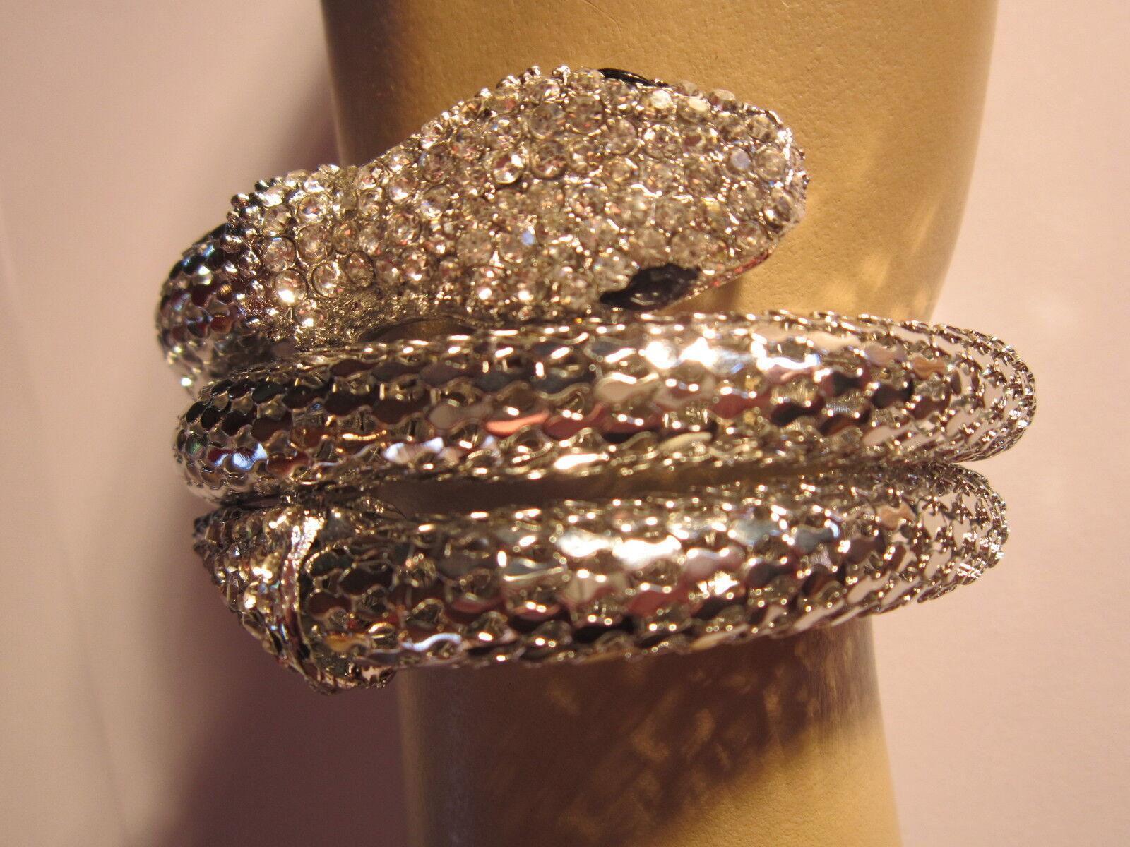 Strass Armspange Armreif Armband Schlange Silber Kristall XL Breit Dehnbar BR030