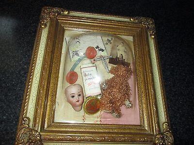 VINTAGE 3-D SHADOW BOX DISPLAY CASE GERMANY DOLL HEAD BEAR POWDER TIN NURSERY