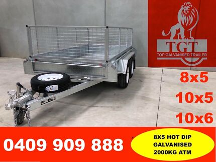 8x5 FULLY WELDED TANDEM HOT DIP GALVANISED TRAILER, 5 NEW TYRES