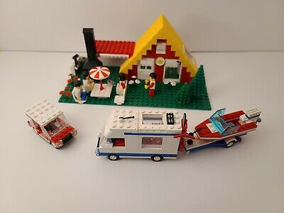 Lego VTG Town Set 6388 HOLIDAY HOME W/ CARAVAN 1987 Box Instructions Minifigs