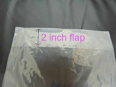 200 9 X 12 Poly T - Shirt Clear Plastic Bags 2 Back Flap 1 Mil Clothing Quality