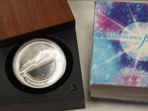 2009 Treasures of Australia 1oz Silver Locket Dollar - Diamonds with Coa Box