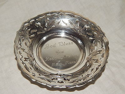 STUNNING EGYPTIAN 900 SILVER OPEN WORK, FOOTED BOWL