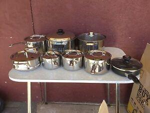 Baccarat saucepans x 5, 1 steamer, 1 Meyer poacher, 1 Sabichi pot Kewdale Belmont Area Preview