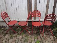 Set of 4 Red Folding Garden Chairs Petersham Marrickville Area Preview