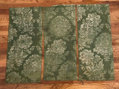 3 remnants of antique French apple green silk floral damask fabric c. 1770
