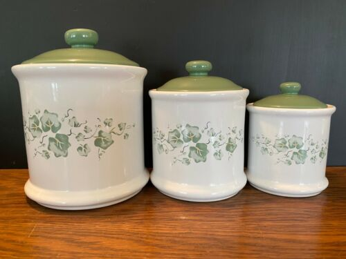 Set of 3 Vtg Jay Import Callaway Green Ivy Kitchen Canisters Containers w/ Lids