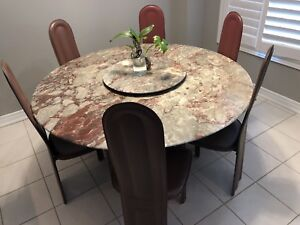 Round Marble table w/ 6 Leather Chairs