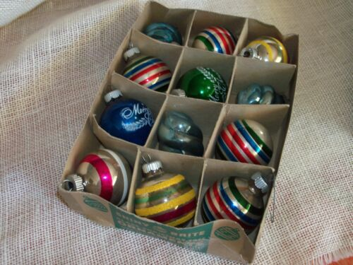 """Box of 12 Shiny Brite Christmas Ornaments 1 1/2"""" - 2""""  in Original Box"""