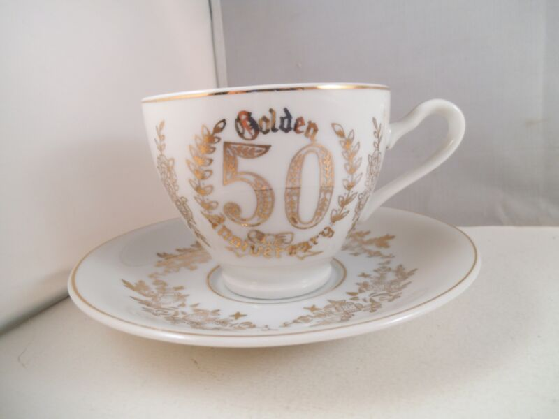 Vintage Napco Made in Japan Teacup Tea Cup & Saucer 50th Anniversary Gold