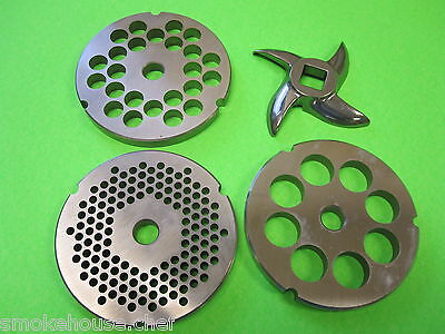 32 Meat Grinder Disc Plate Set And Knife For Hobart Lem Cabelas Universal Etc.