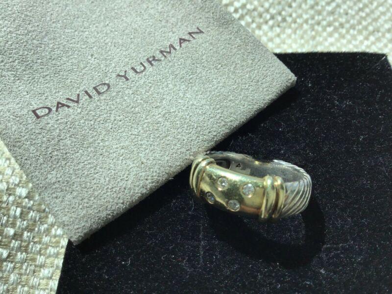 David Yurman Sterling Silver 14k Gold W/ Four Diamonds Size 6.5 Ring