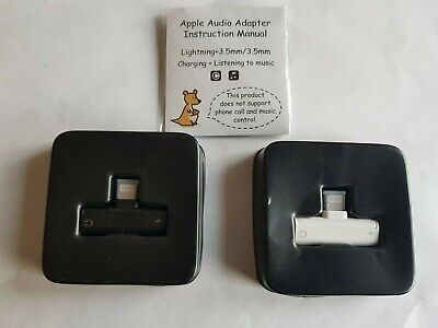 Adapter For Apple iPhone Spllter Audio Earphone AUX Charger iOS 12 black /white