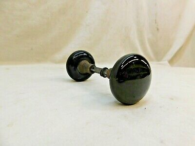 1800's Antique DOOR Knob VICTORIAN Style Original Black Milk Glass ORNATE