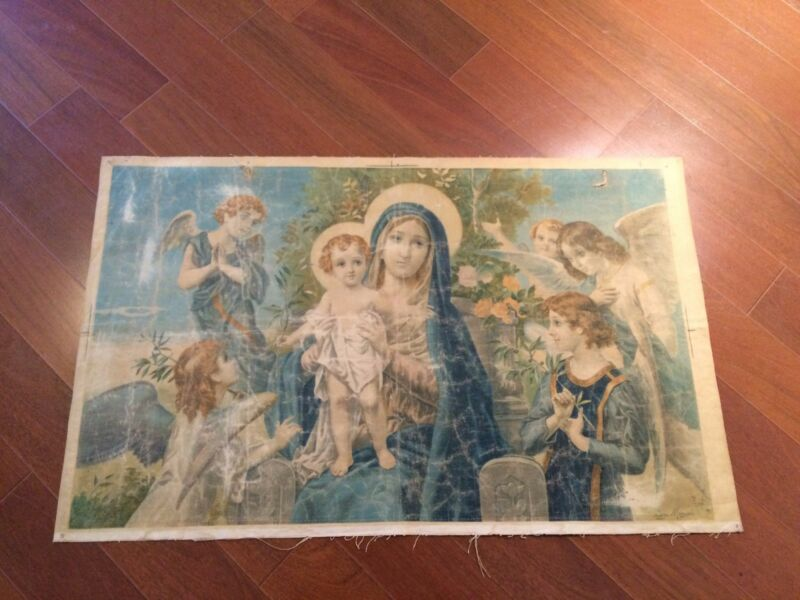 Luigi Morgari Fresco Painter (Canvas) Mary Holding Baby Jesus and Joyous Angels